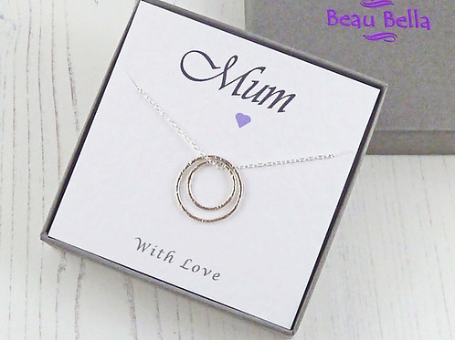 Sterling Silver Eternity Circle Necklace with Message Card For Mum
