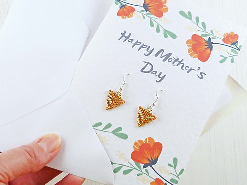 Mother's Day Card and Gold Triangle Earrings Gift