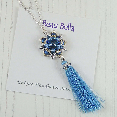 Long Blue Tassel Necklace