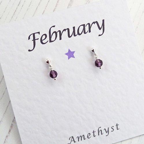 Tiny Amethyst Gemstone Stud Earrings - February Birthday Gift