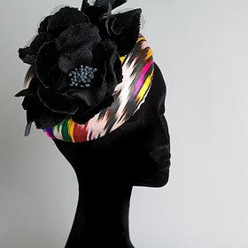"""""""Ikat"""" multicoloured silk covered large pillbox hat velvet rose"""