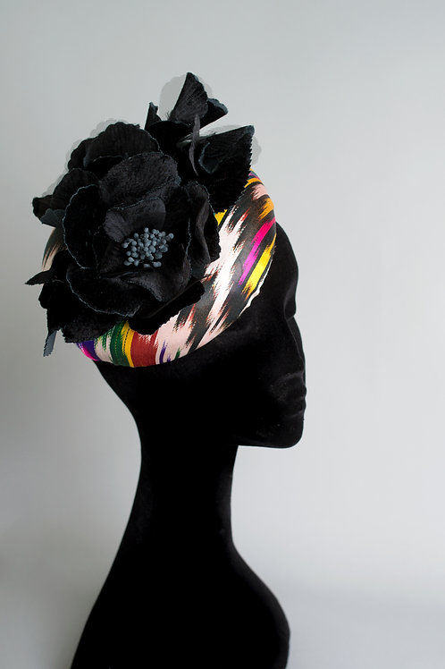 """Ikat"" multicoloured silk covered large pillbox hat velvet rose"