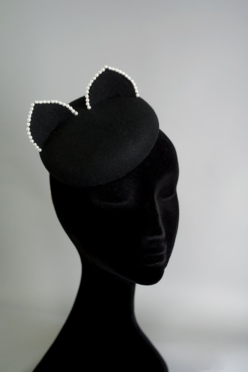"Black ""Kitty"" hat with pearls"