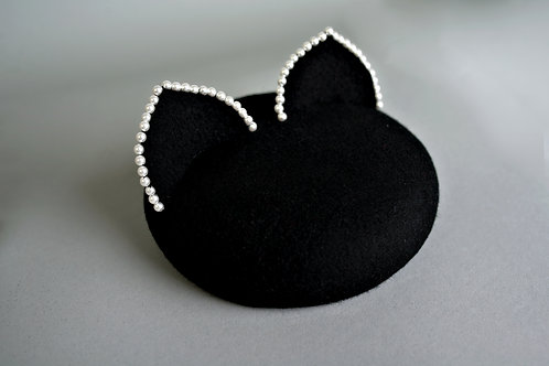 """black """"kitty"""" hat with pearls"""