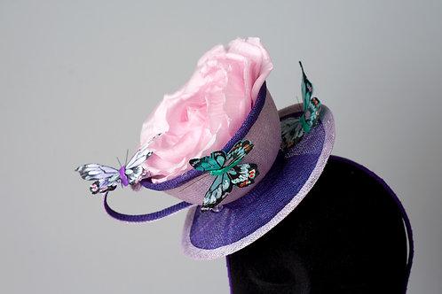"""High tea"" sinamay fascinator lilac/puprle/pink"