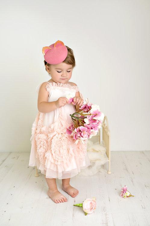 "Pink ""Kitty"" girls pillbox hat"