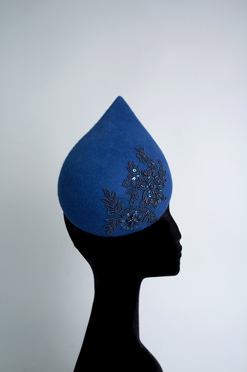 "Large 3D teardrop ""Alana"" hat royal blue"