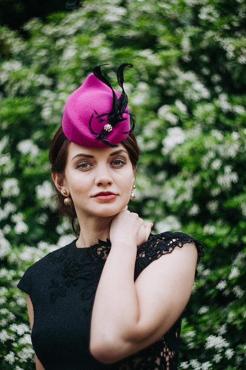 """""""Jenny"""" hot pink/black structural formal hat"""