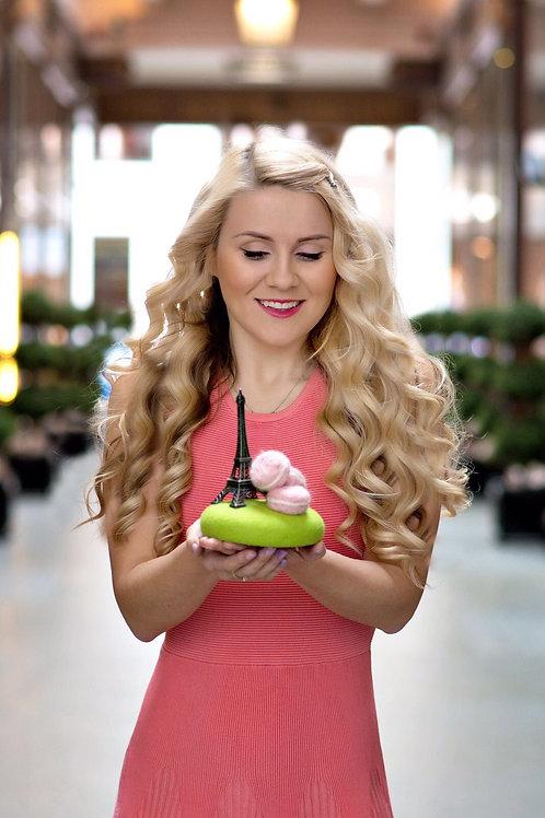 """""""Sweet Paris"""" macaroons pillbox hat green/pink"""