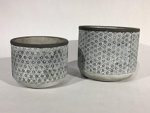 Black with White Stitching Pattern Ceramic Decorative Pots