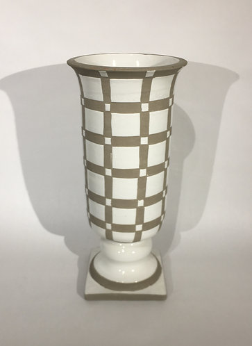 Trinidad Footed Ceramic Urn White and Grey
