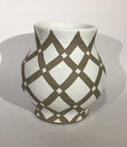 Trinidad Urn White and Grey Ceramic