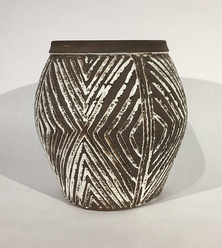 Brown and White Ceramic Pot