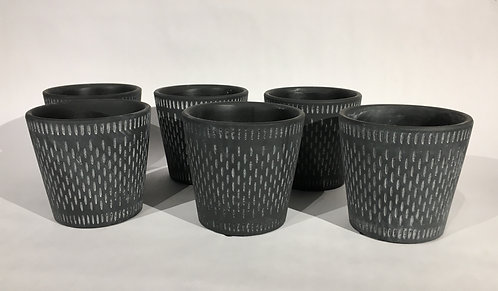 Black with Grey Pattern Ceramic Decorative Pots