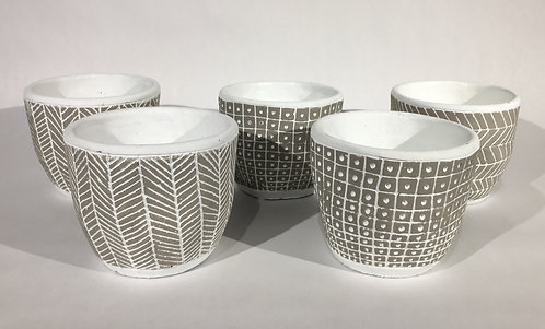 White with Grey Pattern Ceramic Decorative Pots