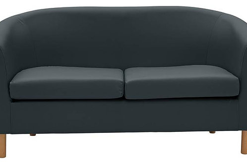2 Seater Tub Sofa Black Leather