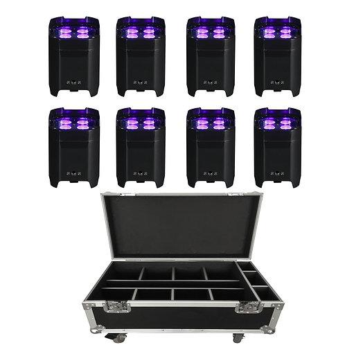 Set of 6 Wireless HEX IP Rated Uplighters in Flightcase