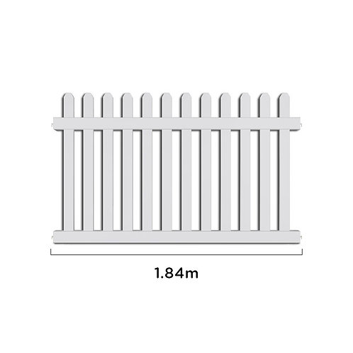 1.84m PIKIT PRO UPVC Picket Fence Panel & 1 Post
