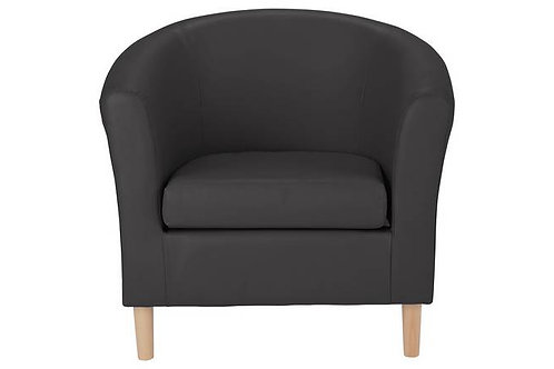 1 Seater Tub Chair Black Leather