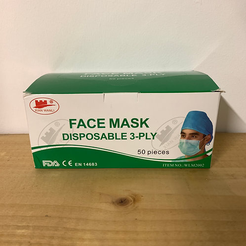 Pack of 50x Surgical TYPE IIR Face Mask (Sale Item)