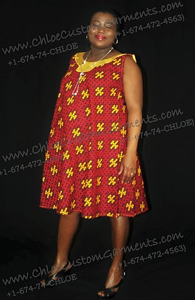 Red Interlock Ankara Flare Gown with Embroidered Neck