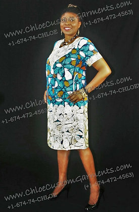 Short Blue Ankara Gown Embroidered at Neck and Bottom
