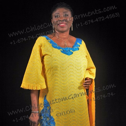 Long Yellow Dry Lace with Neck & Front stoned Embroidery