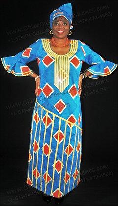 Stoned Bias-work, Full-Length Blue Ankara Gown