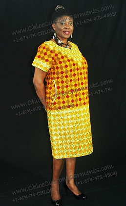 Short, Red Squares, Yellow Ankara Gown, Embroidered at Neck and Bottom