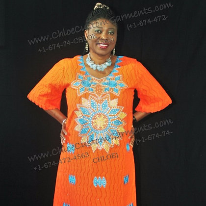 Orange Dry Lace with Neck +Front Embroidery