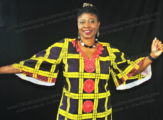 Short Squares Ankara Gown Embroidered on Front