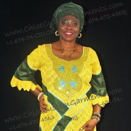 Long Yellow Dry Lace with Army Green Brocade combination with Neck Embroidery