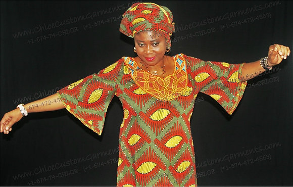 Fully Stoned and Embroidered, Full-Length Red Eye Ankara Gown