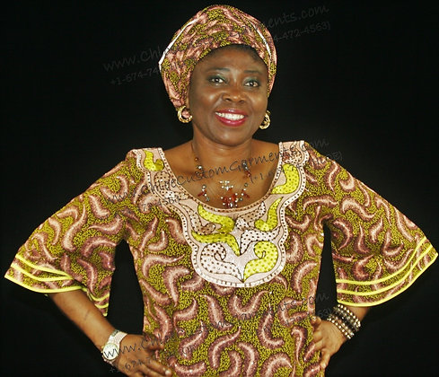 Fully Stoned and Embroidered, Full-Length Brown Ankara Gown