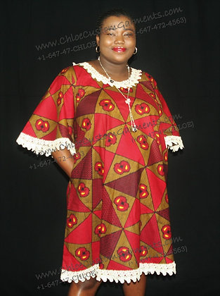 Red Triangle Ankara Flare Gown with Lace Hemming