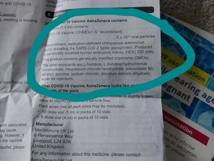 230. Vaksin Astra Zeneca mengandungi sel Janin yang yang diubahsuai  (modified GMO)