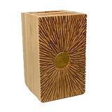 geschnitzte Urne aus Holz mit Blattgold