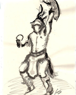 Mexica dancer. Ink on papwr