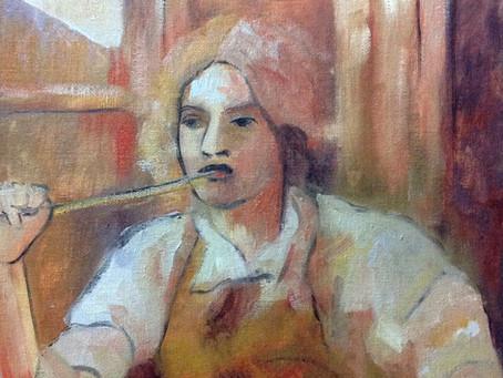 Pintora en el estudio, Pintura al oleo.