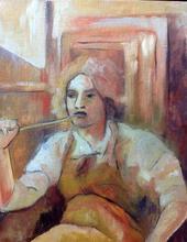 Pintora en estudio