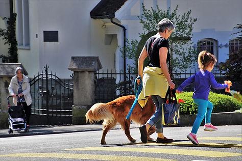 woman and kid walking dog in street.jpg