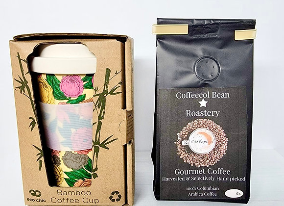 FLORAL ECO FRIENDLY COFFEE CUP & GROUND CAFE