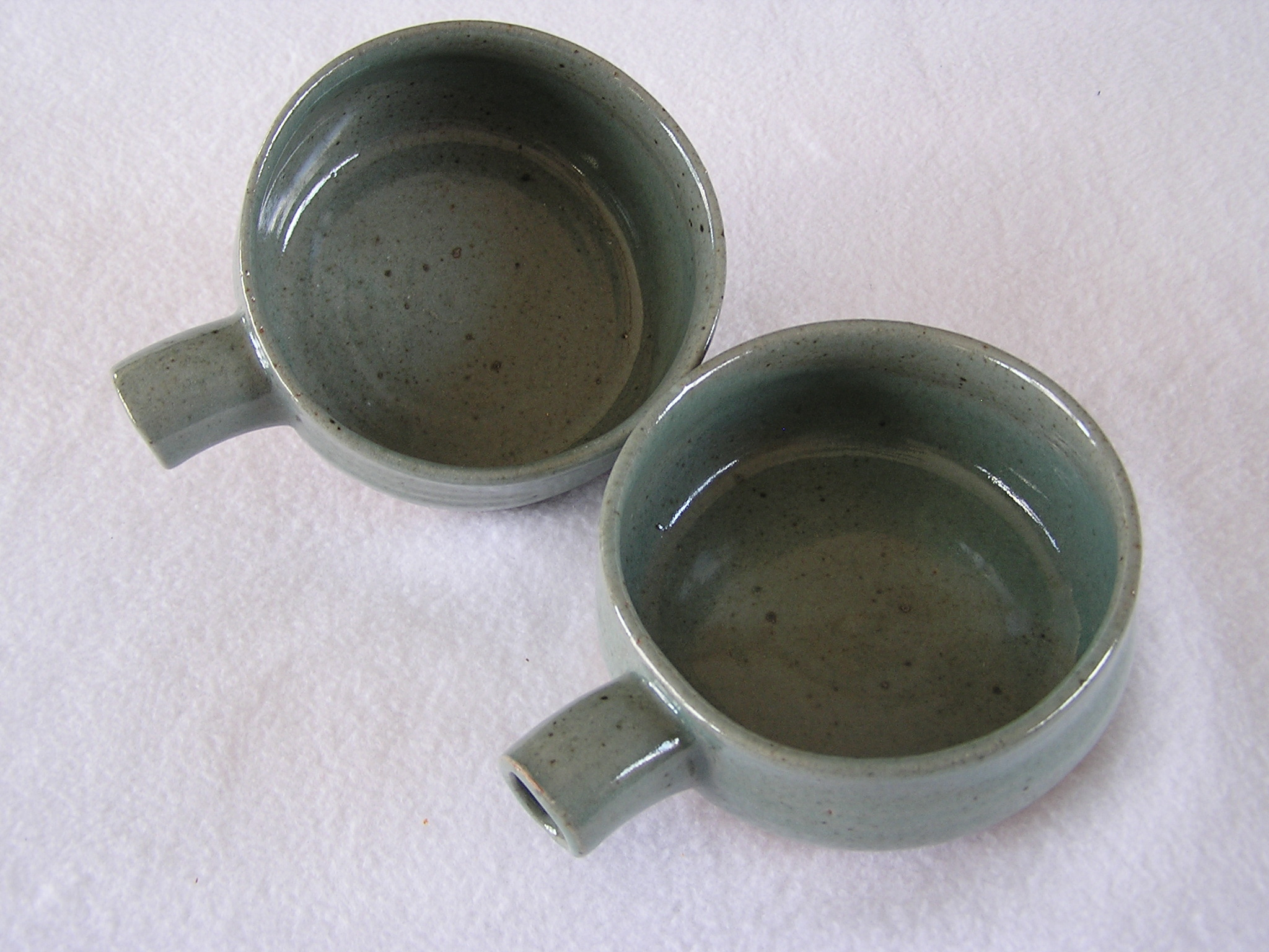 Bowl- Soup, Blue-Green w Tube Handles 2.