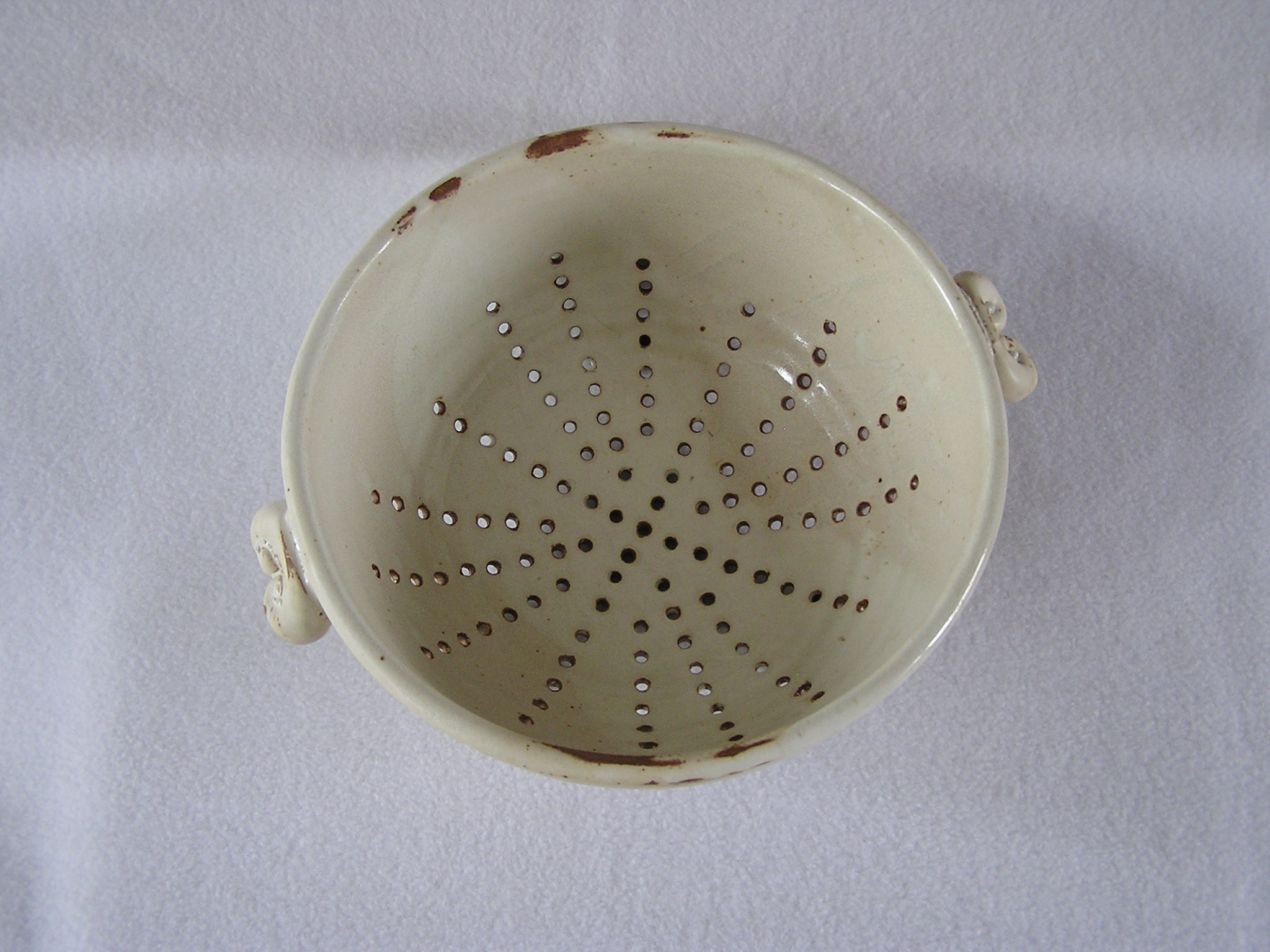 Bowl- Colander, Alabaster w Brown Highli