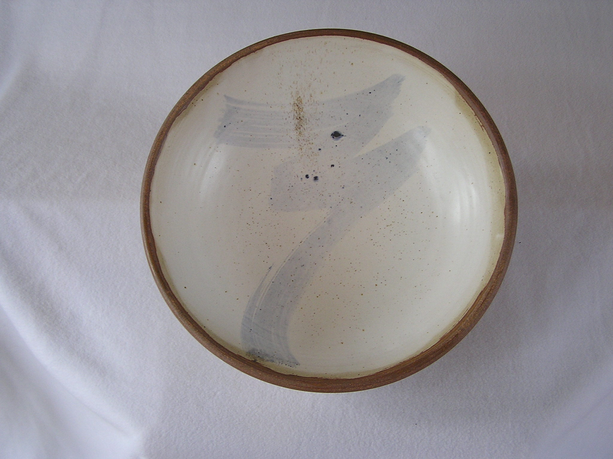 Bowl- Alabaster w Blue Accent, Brown rim