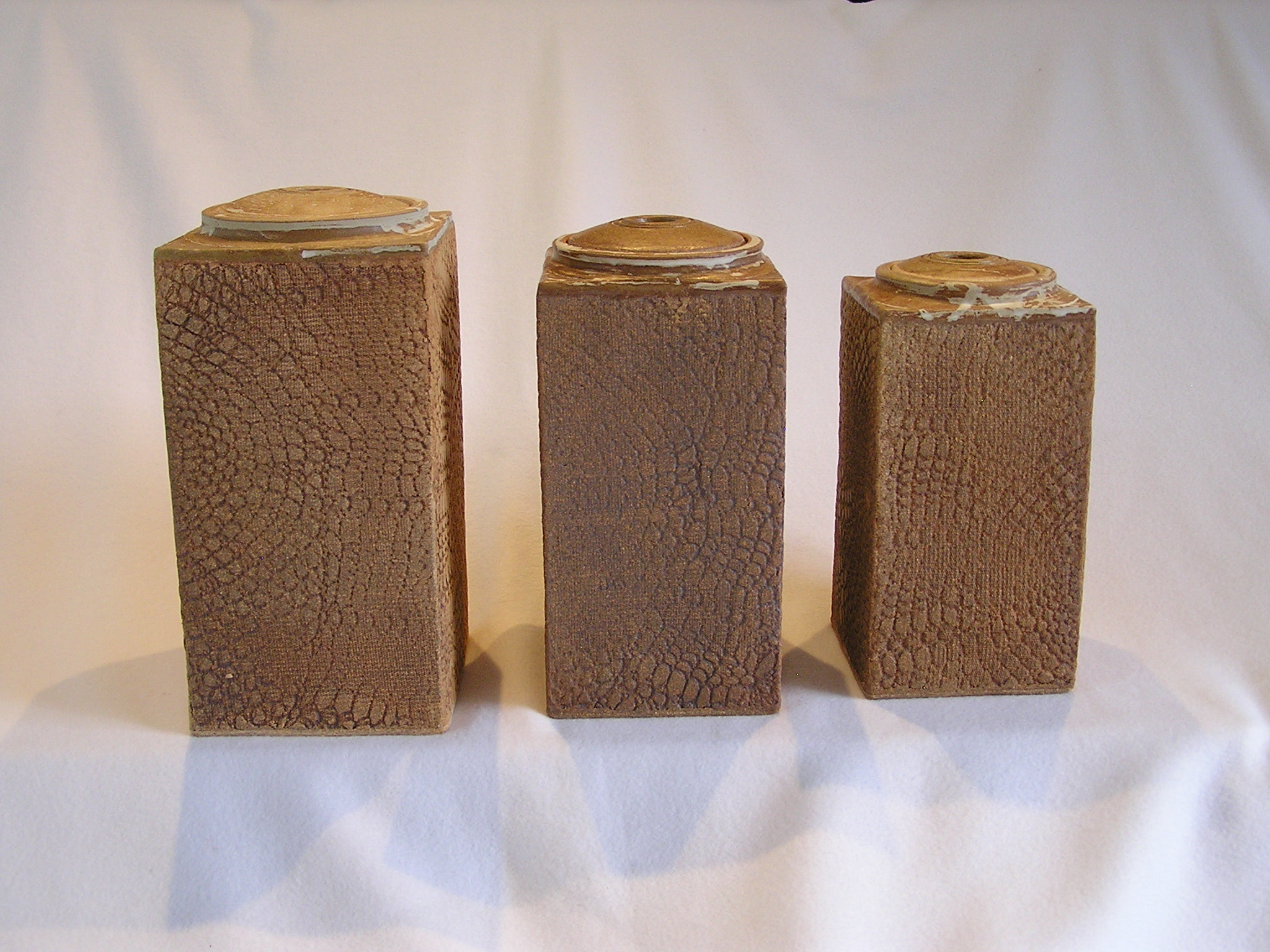 Canister- Handbuilt Set 3 Earthen Brown