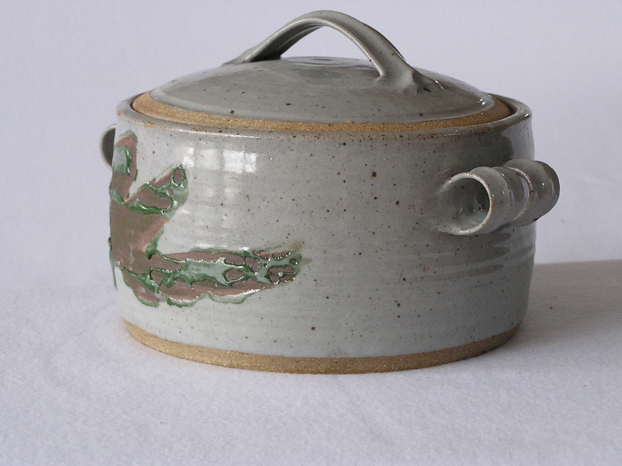 Casserole- Grey w Green Accent 5x10 in (