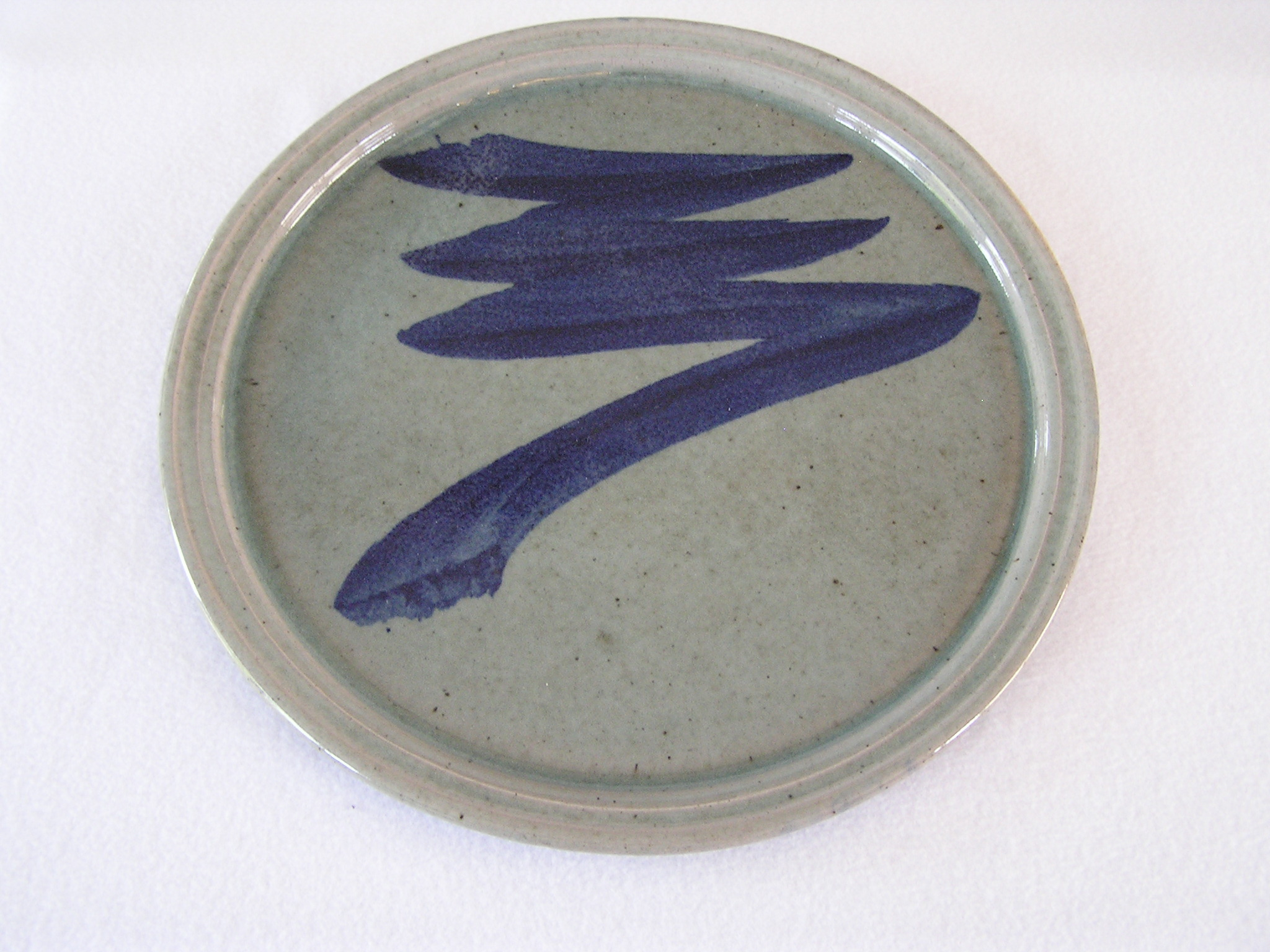 Platter- Sea Glass Green w Cobalt Accent
