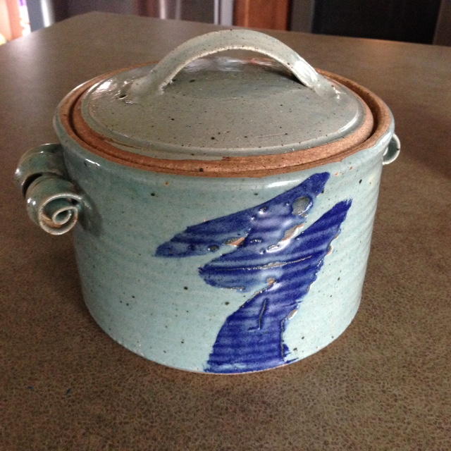 Casserole- Grey w Blue Accent 9x12 in (N