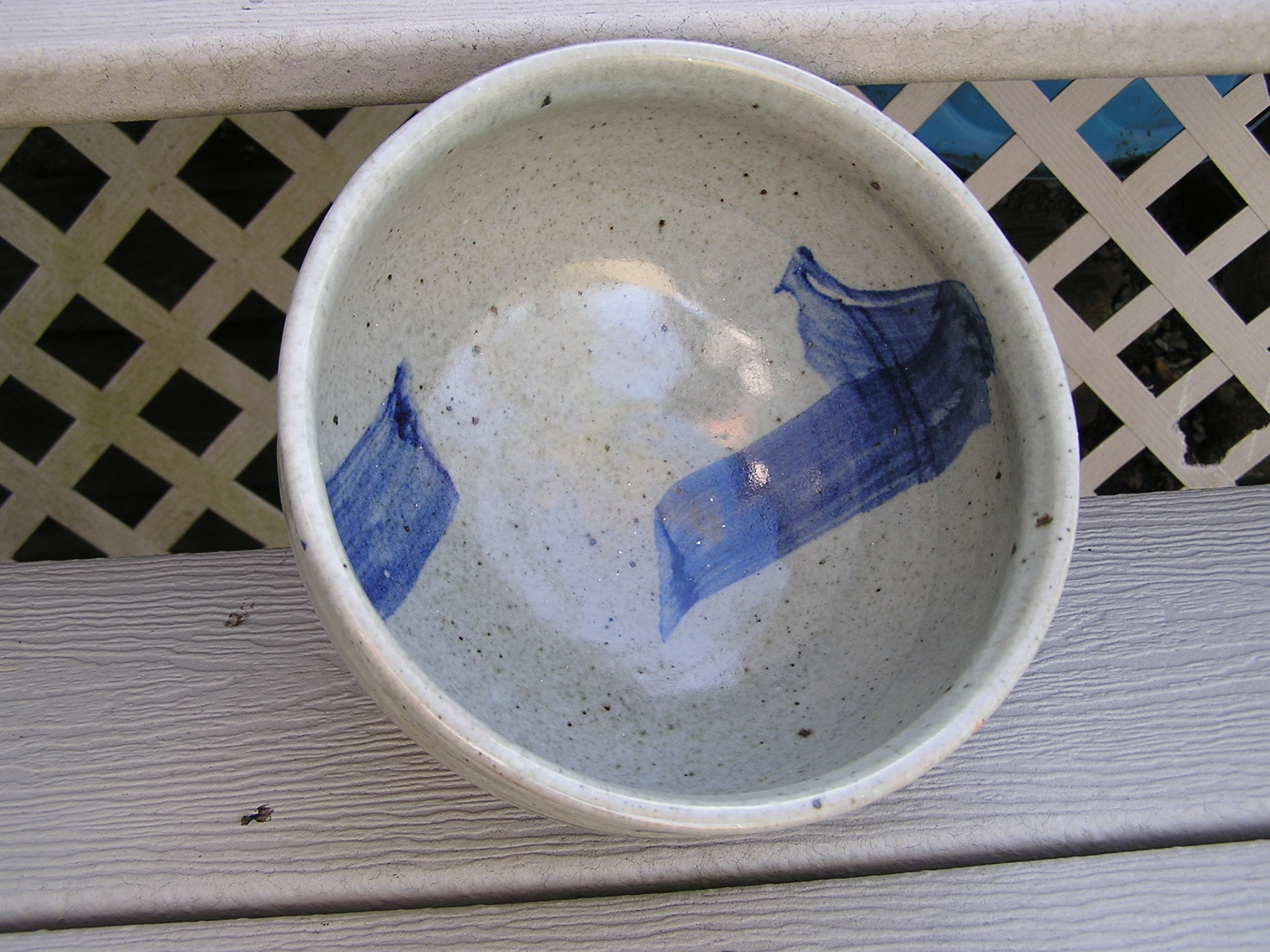 Bowl- Grey w Blue Accent 7x12 in ($60)